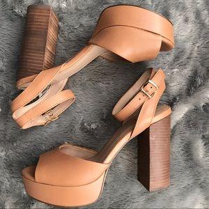 Aldo platform heel cognac sandal